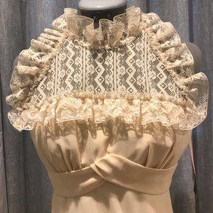 1960's vintage mini lace and crepe dress